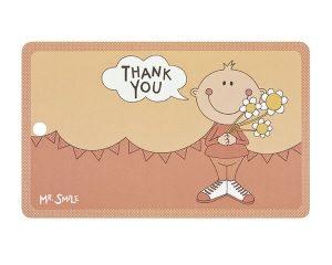 Mila Mr. Smile Thank you - Resopal Frühstücksbrettchen mit Loch zum Aufhängen