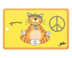 Mila Oommh Peace Frühstücksbrettchen Resopal - Yoga Katze Peacezeichen Brettchen