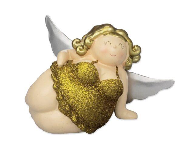 liegender Engel Molly in Modelpose, 15 cm - Kult Engelsfigur Betty - mollige Tänzerin Rubensfigur