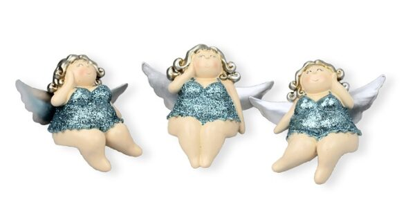 Kantenhocker Engel Molly, glitzer 12cm- Kult Engelsfigur - mollige Ballerinerin Rubensfigur in Desssous