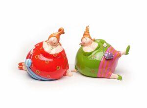 Kugelmädchen - Liegende dicke Damen mit Handtasche - Rubensmodell - mollige lustige Frauen 10cm
