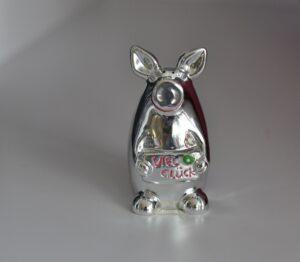 Glücksbringer Schwein - Glücksschwein Porky 7cm silber