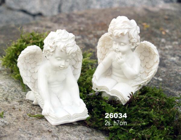 Schutzengel lesend - Engel mit Buch, Engelsfigur aus Resin 7cm