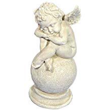 Schlafender Engel auf Kugel, Engel Skulptur 25cm, Engelsfigur antikweiß