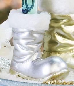 Spardose Stiefel, Silber - Sparschwein, Sparbüchse, Niklolausstiefel, Winterschuh
