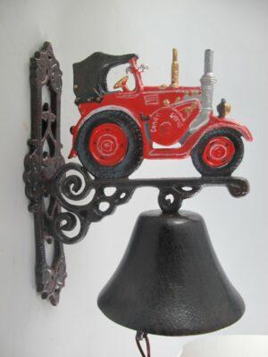 Wandglocke Trecker - Türglocke Traktor aus Gusseisen, rot