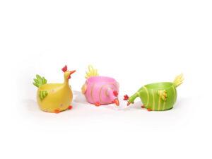 Eierbecher Huhn Hahn Henne - 3er Set lustige Eierbecher Hühner