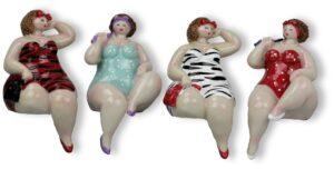 Kantenhocker Dame - Regalsitzer Molly, 15cm - Rubensmodell - mollige lustige Frauen