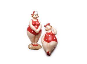 Retro Badedamen mit Badanzug rot, Rubensmodell - mollige lustige Frauen, 12cm