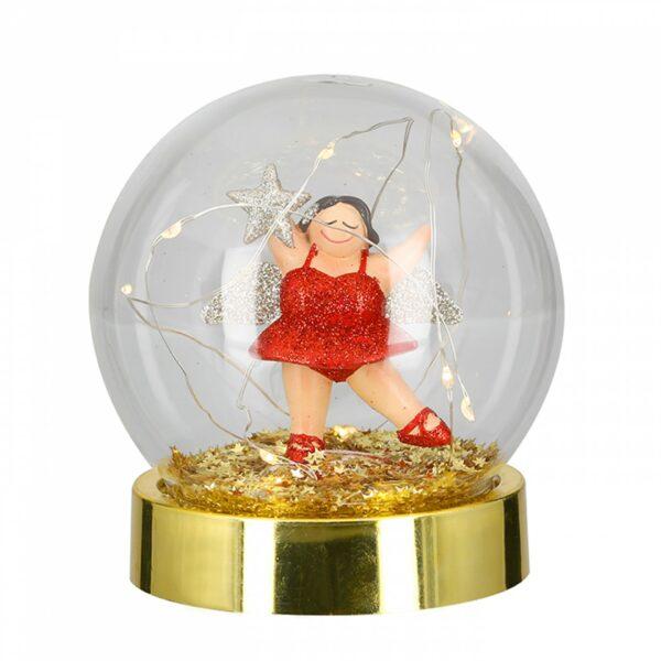 Led Leuchtkugel Engel Betty rot - Engel Tischleuchte, Batteriebetrieb mit Timerfunktion