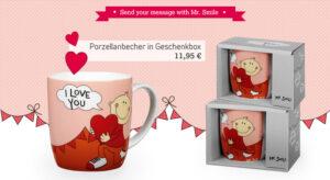 Mr. Smile - I Love you - Liebesbotschaft auf Porzellanbecher in Geschenkbox