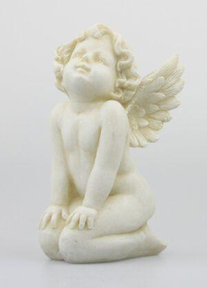 kniender Engel - Grabfigur sitzend - Resin Engelsfigur Outdoor Schutzengel