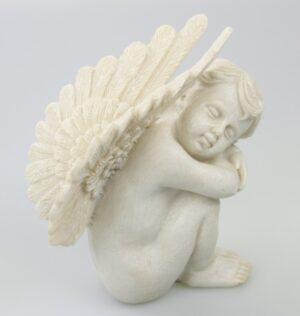 Engel unter Flügel 16 cm - Grabfigur sitzend - Resin Engel - Outdoor Engel