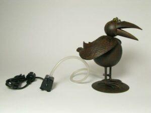 Vogel Wasserspeier Rabe Krähe - Eisenblech - inkl. Pumpe + Schlauch