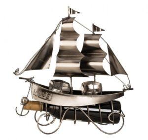 Wein-Flaschenhalter Segler Skulptur Segelboot, Metall - Segelschiff -Schiff - Zweimaster