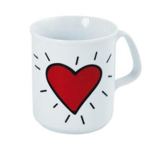 """Kaffeebecher Herz - Porzellanbecher """"Strahlendes Herz"""" - Mug Heart"""
