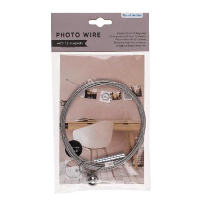 Metall-Fotodraht mit 12 Magneten, Fotoseil 190cm - Fotoleine - Memo-Kartenhalter - Fotohalter - Notizhalter - Bilderhalter