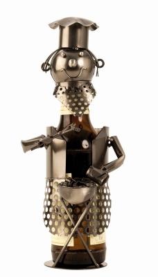 Bier-Flaschenhalter Grillmeister Barbecue Flaschenständer Griller Skulptur, Metall