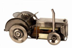 Bier-Flaschenhalter Trecker Skulptur - Traktor Bullldog, Kupfer