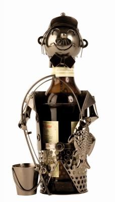 Bier-Flaschenhalter Angler Skulptur Flaschenständer Fischer
