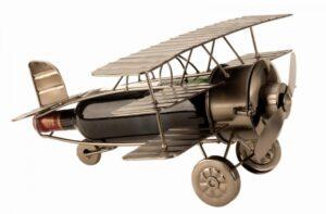 XL Wein-Flaschenhalter Flieger Skulptur Flugzeug - Propellerflugzeug Flaschenständer Doppeldecker