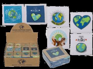 Save the Planet - Magisches Handtuch Weltkugel - Zauberhandtuch - Gästehandtuch Baumwolle 30x30 cm
