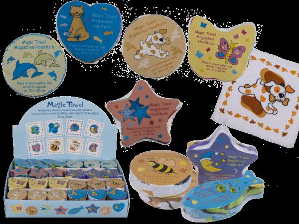 Magisches Handtuch Tiere - Kindergarten Zauberhandtuch - Gästehandtuch Baumwolle 30x30cm