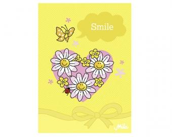 Postkarte Mila Design Grußkarte - Smile mit Herz und Gänseblümchen
