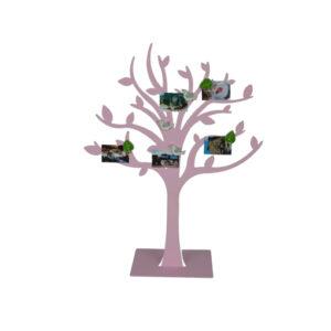 rosa Fotohalter Metall Baum magnetisch - Stammbaum Fotogalerie - Notizhalter