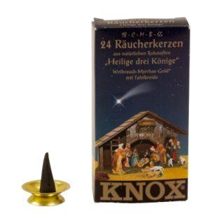 Knox Räucherkerzen Heilige-3-Könige - Weihrauch-Myrrhe-Gold, mit Kreide