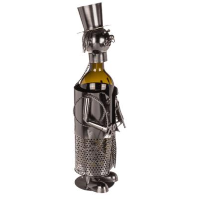 Flaschenhalter Schornsteinfeger Weinflaschenhalter Metall Skulptur Kaminkehrer