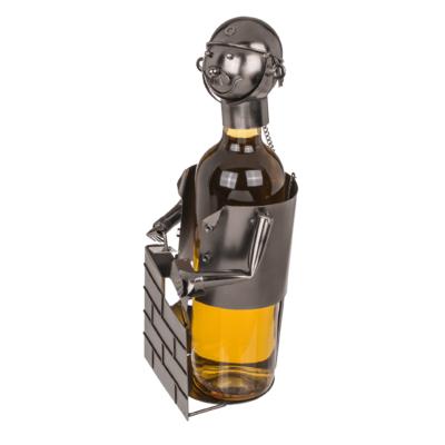 Flaschenhalter Maurer Skulptur - Metall Maurer mit Sicherheitshelm und Steinmauer