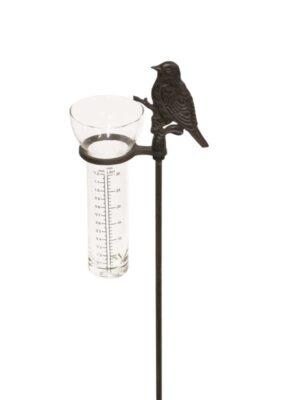 Gartenstecker Regenmesser Vogel am Stab - Spatz Niederschlagsmesser aus Gusseisen