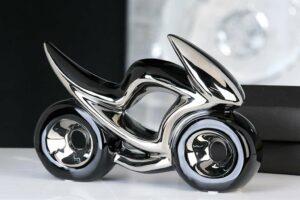 Deko Keramik Skulptur Motorrad Race, schwarz/ silber, verchromt