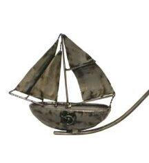 XL Windspiel Gartenstecker Schiff Skipper - größeres oder kleineres Metall Balancer Segelboot mit Glaskugel
