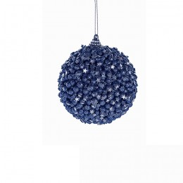 """4er Set Nachtblaue Weihnachtskugel """"Starry"""" - Glitterkugeln mit Sternchen in Geschenkbox"""