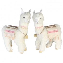 Alpaka Figur Lama mit Decke und Kunstfell