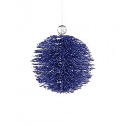 """Blaue Baumschmuck Kugel """"Sparkle"""" - Kunststoffäden, Glitter mit Acrylperlenverzierung"""