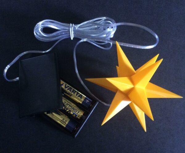 Single 3D LED Stern mit Batterie und Timer - Weihnachtssterne 11 cm Leuchtstern mit Timer