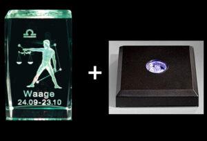 3D Laser Sternzeichen Kristallquader Glasblock – mit LED Sockel schwarz mit Farbwechseler