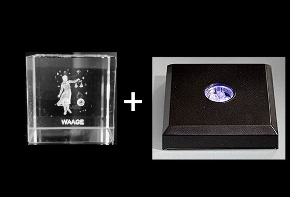 3D Laser Sternzeichen Kristallwürfel Glasblock – mit LED Sockel schwarz mit Farbwechseler