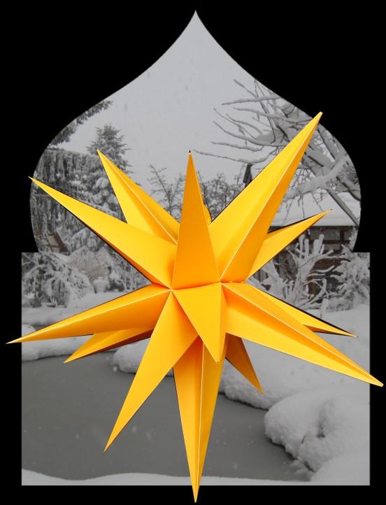 3D Oudoor Stern gelb - 55 cm - inkl. 4 m Außenkabel pagoda 1608 unbeleutet