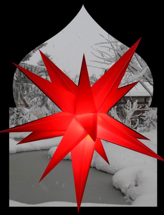 3D Oudoor Stern rot - 55 cm - inkl. 4 m Außenkabel