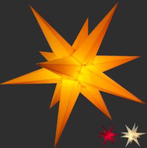 3D Stern Spritzguss - 56 cm - inkl. 7 m Außenkabel und LED Birne- Balthasar Stern in gelb rot oder weiß