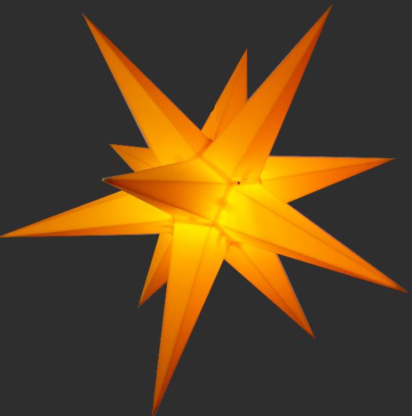 3D Stern Spritzguss gelb - 56 cm - inkl. 7 m Außenkabel und LED Birne