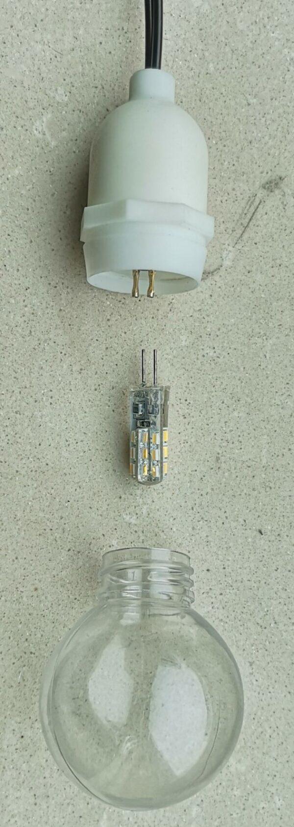 3D Stern Spritzguss gelb LED Birne - 56 cm - inkl. 7 m Außenkabel und LED Birne