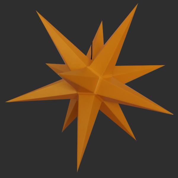 3D Stern Spritzguss gelb aus - 56 cm - inkl. 7 m Außenkabel und LED Birne