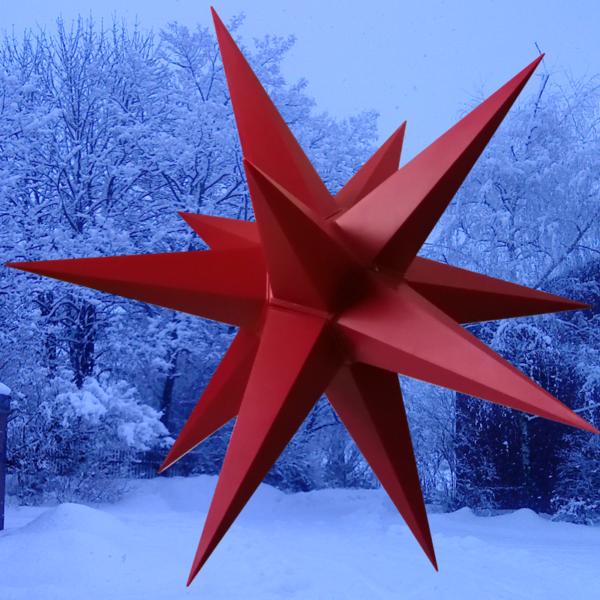 3D Stern Spritzguss rot - 56 cm - inkl. 7 m Außenkabel und LED Birne- Balthasar Stern-unbeleutet