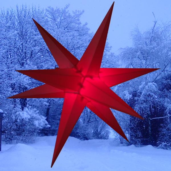 3D Stern Spritzguss rot - 56 cm - inkl. 7 m Außenkabel und LED Birne- Balthasar Stern.