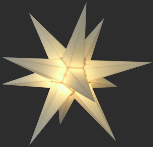 3D Stern Spritzguss weiß - 56 cm - inkl. 7 m Außenkabel und LED Birne